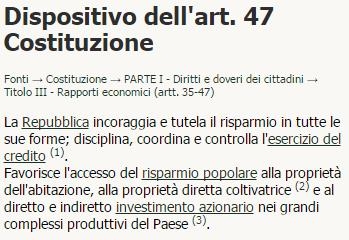articolo 47 Costituzione Italiana